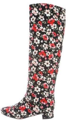 Dolce & Gabbana Floral Knee-High Boots