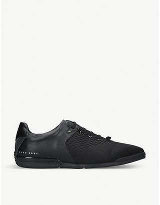 BOSS Saturn leather knitted trainers