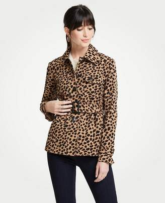 Ann Taylor Petite Cheetah Dot Short Trench