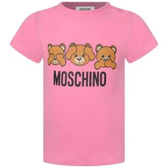 Moschino Girls Pink Teddy Print Top