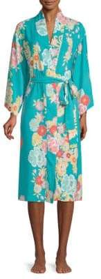 Natori Printed Floral Charmeuse Robe