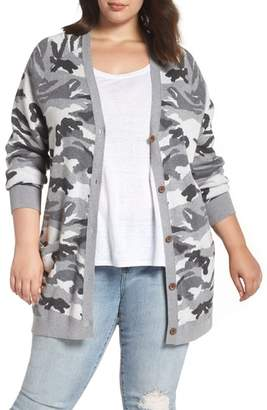 Lucky Brand Button Front Camo Cardigan