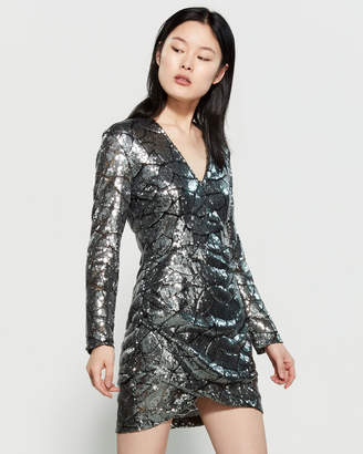 Religion Long Sleeve Sequin Mini Dress