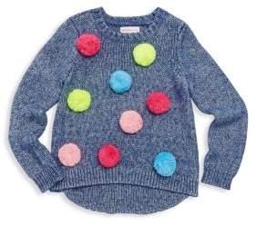 Design History Little Girl's& Girl's Pom-Pom Sweater