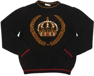 Dolce & Gabbana Crown Intarsia Wool Knit Sweater