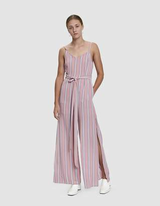 Farrow Harrison Striped Tie Waist Jumpsuit in Dark Pink
