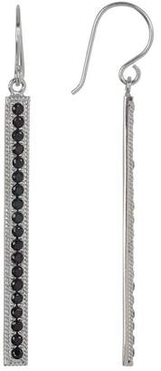 Anna Beck Sterling Silver Black Onyx Pave Long Bar Drop Earrings