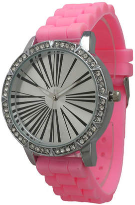 OLIVIA PRATT Olivia Pratt Womens Rhinestone Bezel Roman Numeral Dial Bubble Pink Silicon Watch 20369Bubble Pink