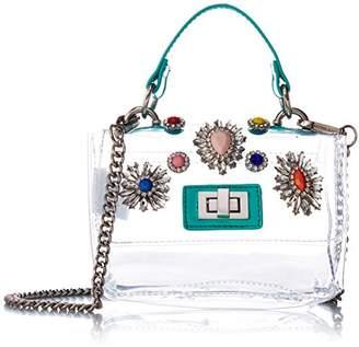 Steve Madden Vickey Clear Bag Multi Colored Jewels and Rhinestones Clutch Crossbody