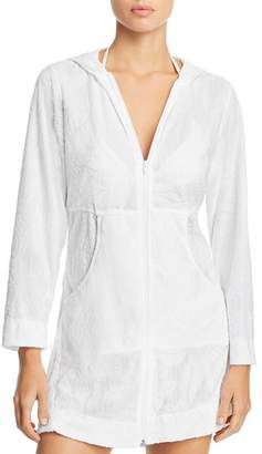 J Valdi Anguila Full-Zip Hooded Tunic Swim Cover-Up