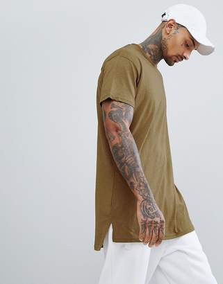 New Look Longline T-Shirt In Khaki