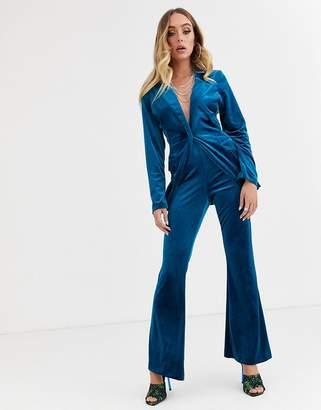 Asos Design DESIGN jersey kick flare suit trouser in velvet