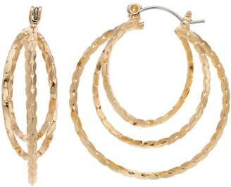JLO by Jennifer Lopez Gold Tone Nickel Free Twisted Triple Hoop Earrings