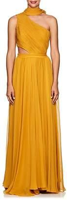 Prabal Gurung Women's Plissé Silk Chiffon Cutout Gown