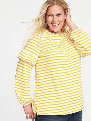 Old Navy French-Terry Plus-Size Ruffle-Sleeve Sweatshirt
