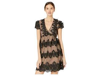 Miss Me Cap Sleeve Empire Waist Lace Mini Dress