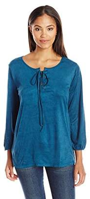 Notations Women's 3/4 Sleeve Solid Suede Lace up Top