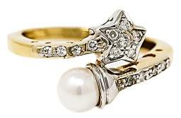14K Yellow Gold with Pearl & 0.40ct. Diamond Star Shaped Ring Size 8.75
