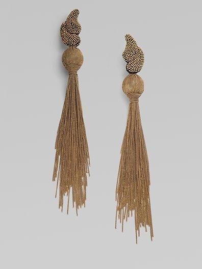 Ranjana Khan Chain Tassel Earrings/Gold