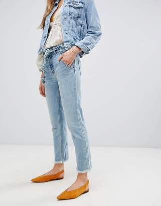 Free People Hi & Belted straightcut jeans