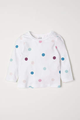 H&M Puff-sleeved Jersey Top - White