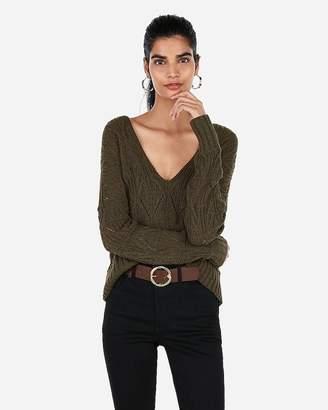 Express Open Stitch Split Back V-Neck Hi-Lo Sweater