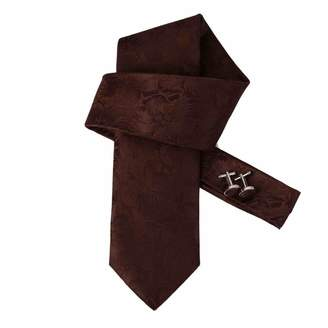 IDEA DAB1114 Classic Gentlemen Bronze Patterned Woven Microfiber Tie Cufflinks Mens Tie Handsome Presents By Dan Smith