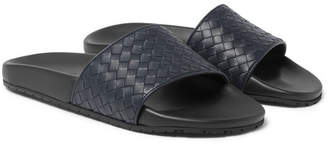 Bottega Veneta Intrecciato Leather Slides - Navy