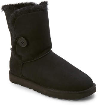 UGG Black Bailey Button Real Fur Boots