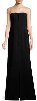 Halston Front Slit Strapless Column Gown