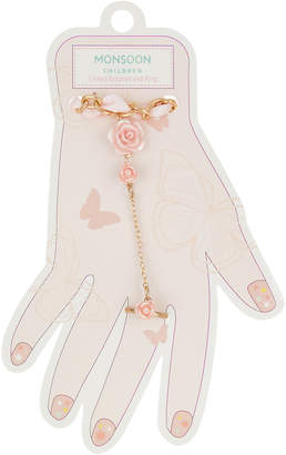 Monsoon Pretty Rose Linked Bracelet & Ring Set