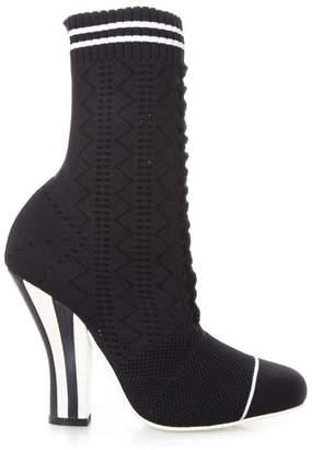 Fendi Rockoko Boots In Black Elastic Yarn