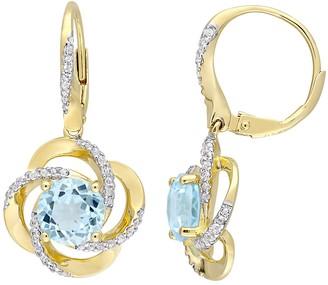 Gold Tone Sterling Silver Blue & White Topaz Leverback Earrings