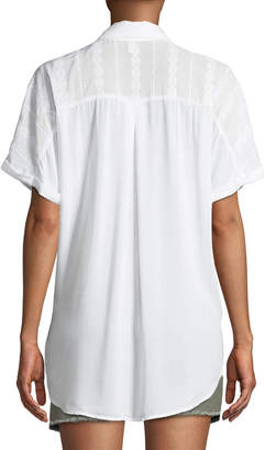 BCBGeneration Dolman-Sleeve Wrap-Hem Blouse