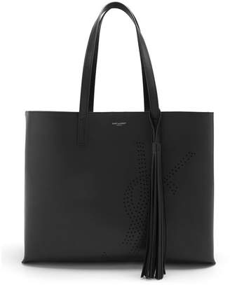 Saint Laurent Perforated Logo Leather Tote Bag - Womens - Black