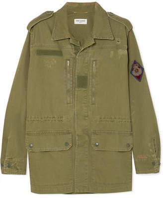 Saint Laurent Appliquéd Distressed Cotton And Ramie-blend Gabardine Jacket - Army green