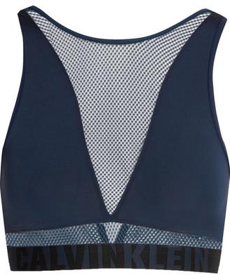 Calvin Klein Underwear - Id Stretch-jersey And Mesh Soft-cup Bra - Midnight blue $35 thestylecure.com