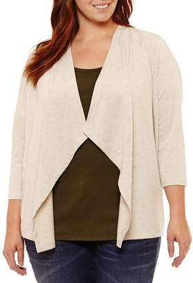 ST. JOHN'S BAY 3/4 Sleeve Flyaway Cardigan with Lace Inset - Plus