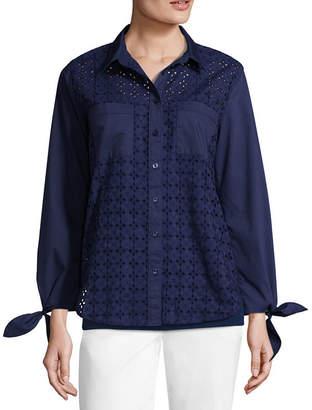 Liz Claiborne Tie Sleeve Eyelet Button Front Shirt