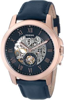 Fossil Men's ME3054 Grant Three-Hand Automatic Leather Watch-Navy