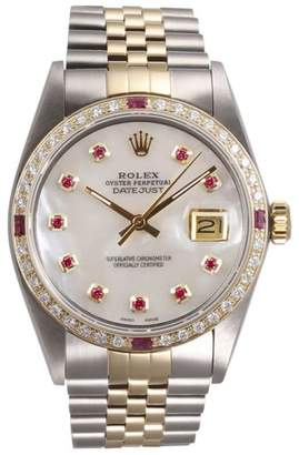 Rolex Datejust 18K Yellow Gold and Stainless Steel White Mother of Pearl Red Diamond Dial and Ruby Diamond Bezel 36mm Watch
