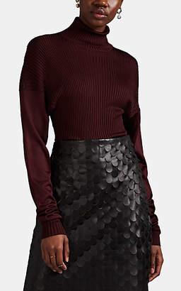 Bottega Veneta Women's Mixed-Knit Silk Turtleneck Sweater - Wine