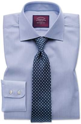 Charles Tyrwhitt Slim Fit Semi-Spread Collar Luxury Cotton Silk Blue Cotton Silk Dress Shirt Single Cuff Size 14.5/33