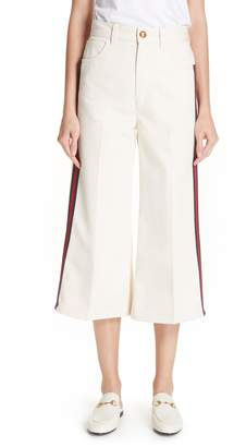Gucci Ribbon Detail Wide Leg Crop Jeans