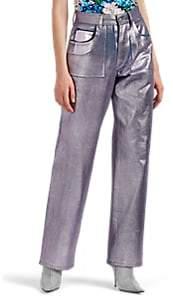 Koché Women's Metallic Wide-Leg Jeans - Pink