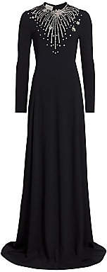 Gucci Women's Star Embellished Long-Sleeve Technical Jersey Gown