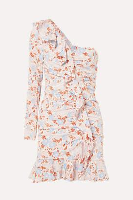 Veronica Beard One-shoulder Ruffled Floral-print Silk-blend Georgette Mini Dress - Blue