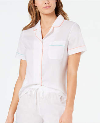 Charter Club Notch Collar Woven Cotton Pajama Top, 8151634