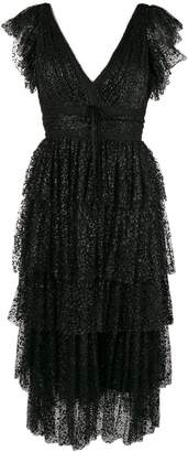 Marchesa tiered sequinned dress