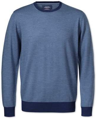 Charles Tyrwhitt Mid Blue Merino Crew Neck Wool Sweater Size Large